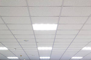 A Typical Dropped Ceiling Consists Of A Grid Work Of Metal Channels In The  Shape Of An Upside Down U201cTu201d, Suspended On Wires From The Overhead Structure.